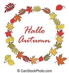 affiche, feuilles, automne, clair, fond, érable
