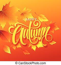 affiche, feuilles, illustration, automne, calligraphy., vecteur, fond, automne, ou, carte, design.