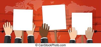 affiche, foule, gens, activisme, révolte, protesters, illustration, signe, grève, protestation, vecteur, tenue, colère, blanc