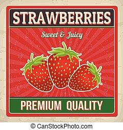 affiche, fraises, retro