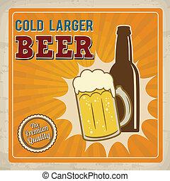 affiche, froid, plus grand, bière, retro
