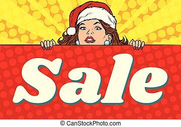 affiche, girl, vente, santa