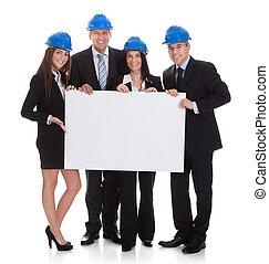 affiche, groupe, architectes, tenue