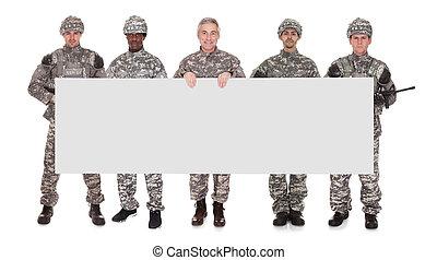 affiche, groupe, soldat