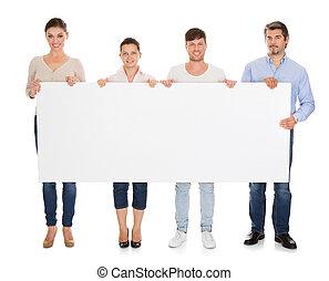 affiche, groupe, tenue, gens
