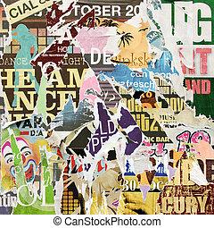 affiche, grunge, fond