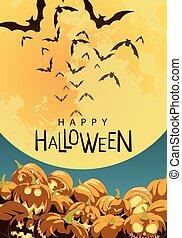 affiche, halloween, heureux