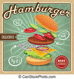 affiche, hamburger, retro