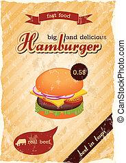 affiche, hamburger, retro