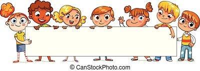 affiche, heureux, enfants, tenue, vide