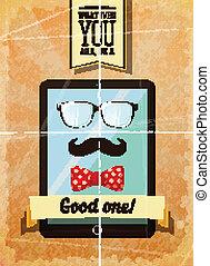 affiche, hipster, tablette, vendange