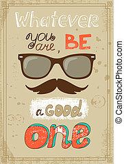 affiche, hipster, vendange, message, moustache, lunettes