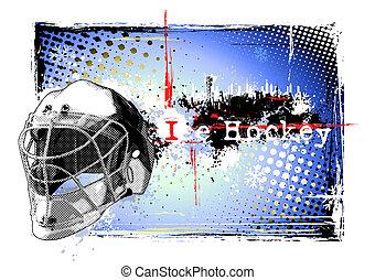 affiche, hockey, glace