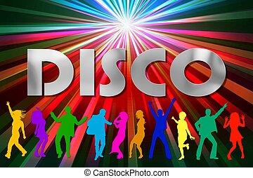 affiche, illustration, coloré, disco