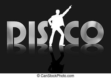 affiche, illustration, disco