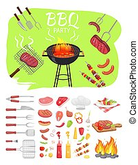 affiche, illustration, vecteur, fête, barbecue, barbeque