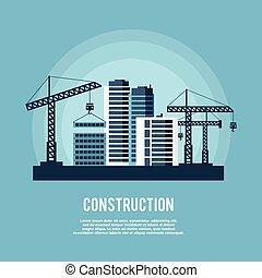 affiche, industrie, construction