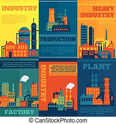 affiche, industrie, ensemble