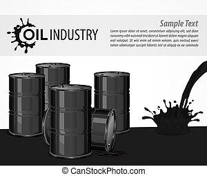 affiche, industriel, noir, huile