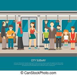 affiche, intérieur, train, métro