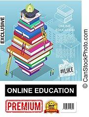 affiche, isométrique, education, ligne