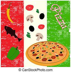 affiche, italien, pizza