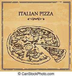 affiche, italien, vecteur, pizza