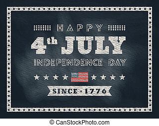 affiche, jour, 4ème, tableau, fond, juillet, ou, carte, indépendance