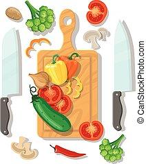 affiche, légumes, cuisine, planche découper, carte