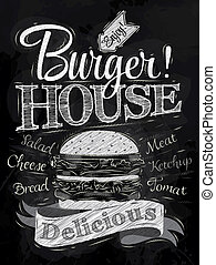 affiche, lettrage, hamburger, maison, craie