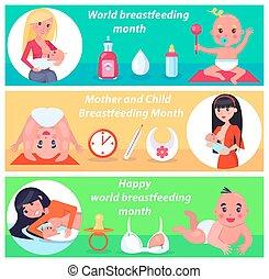 affiche, mère, illustration, mois, vecteur, enfant