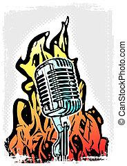 affiche, microphone