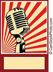 affiche, microphone, musique