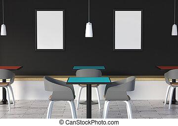 affiche, moderne, café