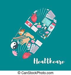 affiche, monde médical, vecteur, pilule, healthcare
