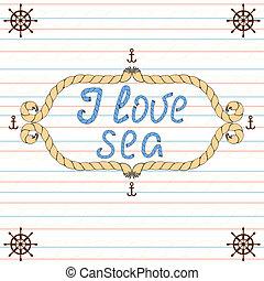 affiche, nautique, amour, typographie, sea.