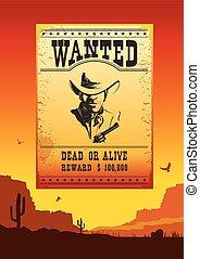 affiche, ouest américain, sauvage, voulu, déserter paysage