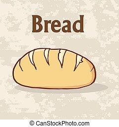 affiche, pain, dessin animé, pain