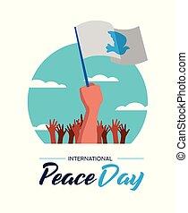 affiche, paix, parade, mondiale, gens