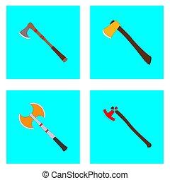 affiche, paquet, ensemble, jeu, plat, dessin animé, style., haches, vecteur, plat, enfants, book., entiers, editable., couleur, mignon