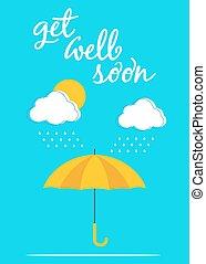 affiche, parapluie, carte