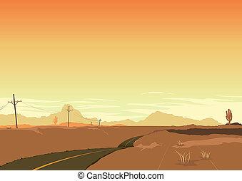 affiche, paysage, désert, fond