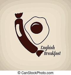affiche, petit déjeuner, anglaise