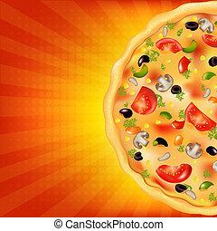 affiche, pizza, sunburst