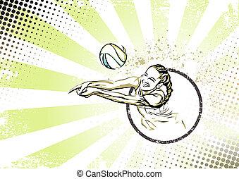 affiche, plage, retro, volley-ball, dos