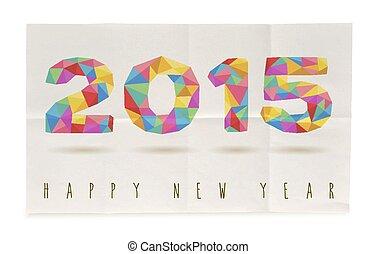 affiche, plié, papier, année, 2015, nouveau, heureux