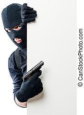 affiche, points, criminel, fusil, espace