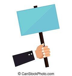 affiche, poteau, tenant main