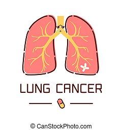 affiche, poumon, dessin animé, cancer