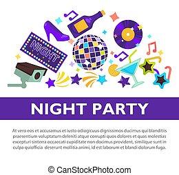 affiche, promotionnel, avoir, nuit, amusement, fête, attributes